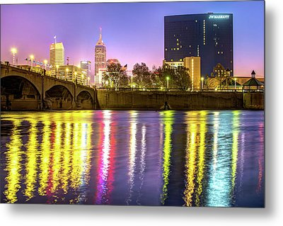 Indianapolis Skyline Water Reflections Metal Print