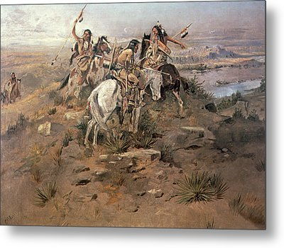 Indians Discovering Lewis And Clark Metal Print by Charles Marion Russell