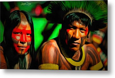 Indians Of Brazil - Da Metal Print