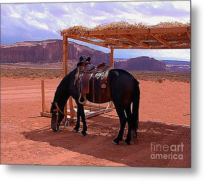Indian's Pony In Monument Valley Arizona Metal Print by Merton Allen