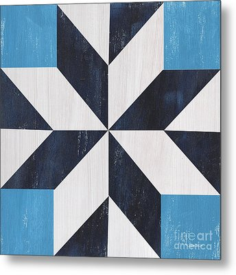 Metal Print featuring the painting Indigo And Blue Quilt by Debbie DeWitt