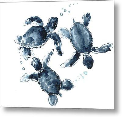 Indigo Blue Sea Turtle Metal Print by Suren Nersisyan