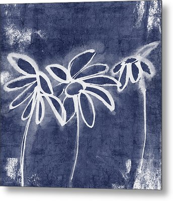 Indigo Floral 1- Art By Linda Woods Metal Print