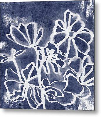 Indigo Floral 3- Art By Linda Woods Metal Print by Linda Woods