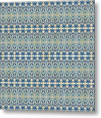 Indigo Ocean - Caribbean Tile Inspired Watercolor Swirl Pattern Metal Print by Audrey Jeanne Roberts