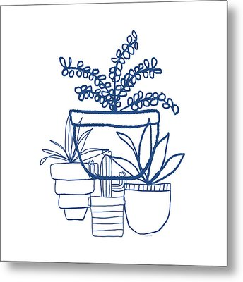 Metal Print featuring the mixed media Indigo Potted Succulents- Art By Linda Woods by Linda Woods