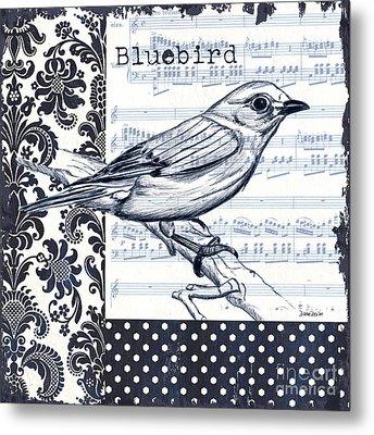 Indigo Vintage Songbird 1 Metal Print by Debbie DeWitt