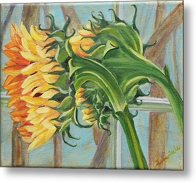 Indoor Sunflowers Metal Print by Trina Teele