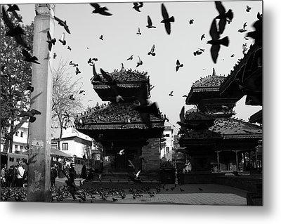 Indrapur And Vishnu Temple, Durbar Square, Kathmandu Metal Print