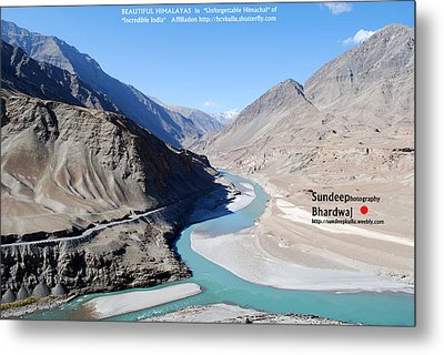 Indus River Sangam Or Meeting Point In Himalayas Of Incredible India Metal Print by Sundeep Bhardwaj Kullu sundeepkulluDOTcom