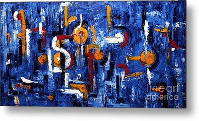 Metal Print featuring the painting Industrial Abstract by Arturas Slapsys