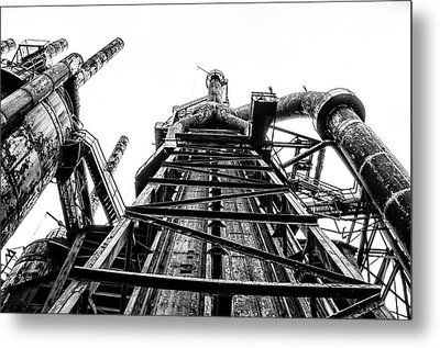 Industrial Age - Bethlehem Steel In Black And White Metal Print by Bill Cannon