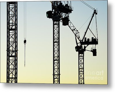 Industrial Cranes Abstract Metal Print by Tim Gainey