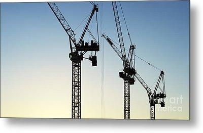 Industrial Cranes Silhouette Metal Print by Tim Gainey