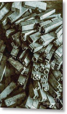 Industrial Letterpress Typeset  Metal Print