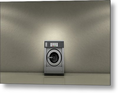 Industrial Washer In Empty Room Metal Print by Allan Swart
