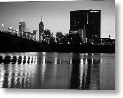 Indy Skyline Black And White Reflections - Indianapolis Indiana Metal Print by Gregory Ballos