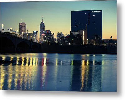Indy Skyline Reflections - Indianapolis Indiana Metal Print by Gregory Ballos