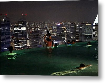 Infinity Pool At Marina Bay Sands Hotel Metal Print by Diane Height