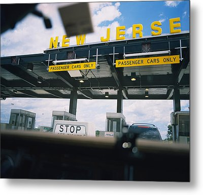 Information Board View Through A Car Metal Print by Panoramic Images