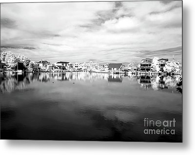 Infrared Beach Houses On The Water Metal Print by John Rizzuto