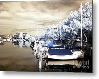Infrared Boats At Lbi Metal Print by John Rizzuto