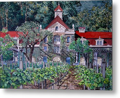 Metal Print featuring the painting Inglenook Winery Napa Valley  by Gail Chandler
