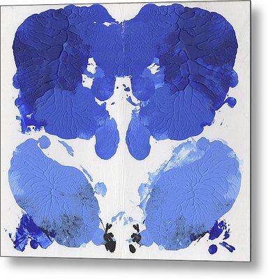 Ink Blot Blue Metal Print