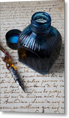 Ink Bottle On Document  Metal Print by Garry Gay