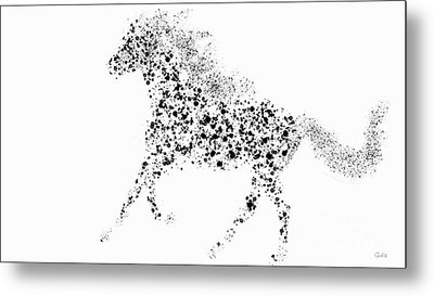 Metal Print featuring the drawing Ink Splattered Stallion by Nick Gustafson