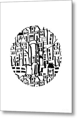 Inky Village Sketch Ball- Art By Linda Woods Metal Print