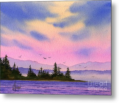 Metal Print featuring the painting Inland Sea Sunset by James Williamson