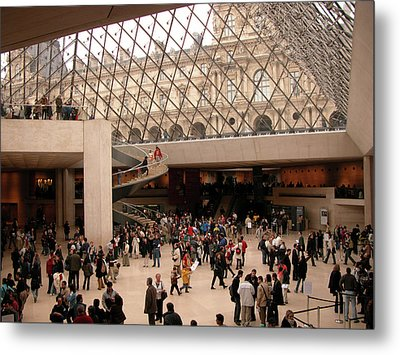 Metal Print featuring the photograph Inside Louvre Museum Pyramid by Mark Czerniec