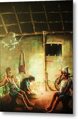 Inside Refugee Hut Metal Print by Pralhad Gurung