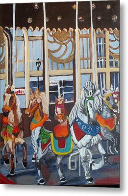 Inside The Carousel House Metal Print by Norma Tolliver