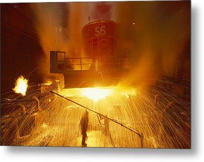 Inside The East-slovakian Steel Mill Metal Print by James L Stanfield