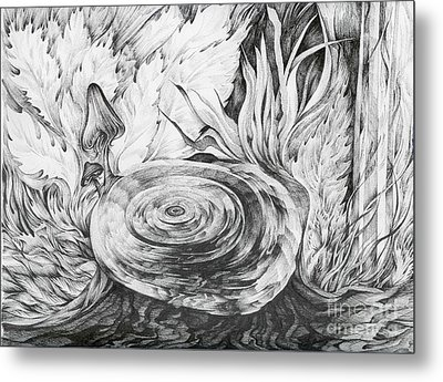 Metal Print featuring the drawing Inside The Forest by Anna  Duyunova