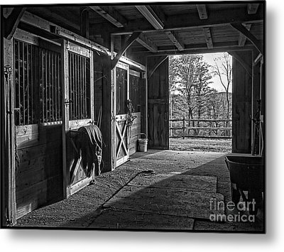 Inside The Horse Barn Black And White Metal Print