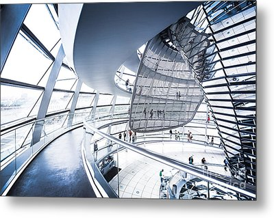 Inside The Reichstag Dome Metal Print