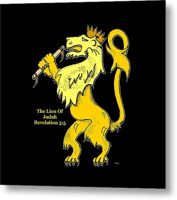Metal Print featuring the drawing Inspirational - The Lion Of Judah by Glenn McCarthy Art and Photography