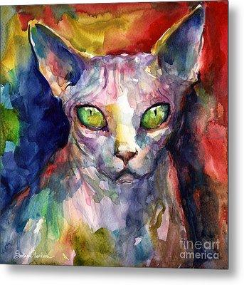 intense watercolor Sphinx cat painting Metal Print by Svetlana Novikova