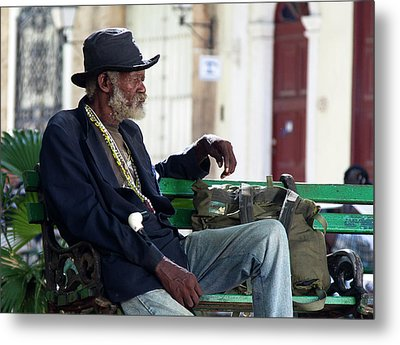 Metal Print featuring the photograph Interesting Cuban Gentleman In A Park On Obrapia by Charles Harden