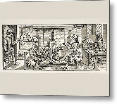 Interior Of A 16th Century Kitchen Metal Print by Vintage Design Pics