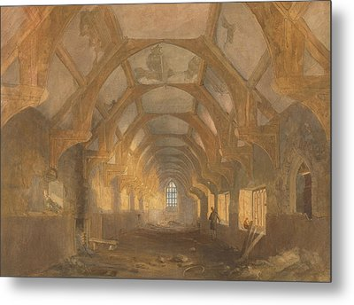 Interior Of A Dormitory Of The Ipswich Blackfriars At The End Of Its Period Of Occupation By Ipswich Metal Print by John Sell Cotman