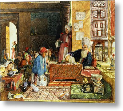 Interior Of A School - Cairo Metal Print by John Frederick Lewis