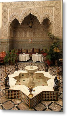 Interior Of A Traditional Riad In Fez Metal Print