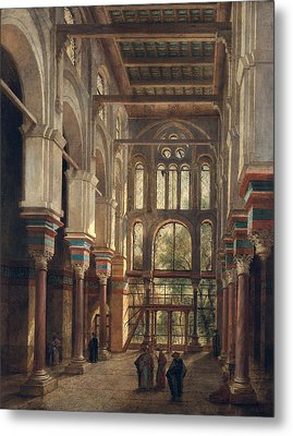 Interior Of The Mosque Of El Mooristan In Cairo Metal Print by Adrien Dauzats
