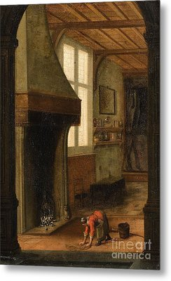 Interior Scene With A Woman Cleaning Metal Print