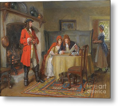 Interior Scene With Lady And Gentleman Metal Print