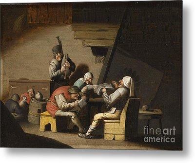 Interior Scene With Peasants Singing And Making Music Metal Print